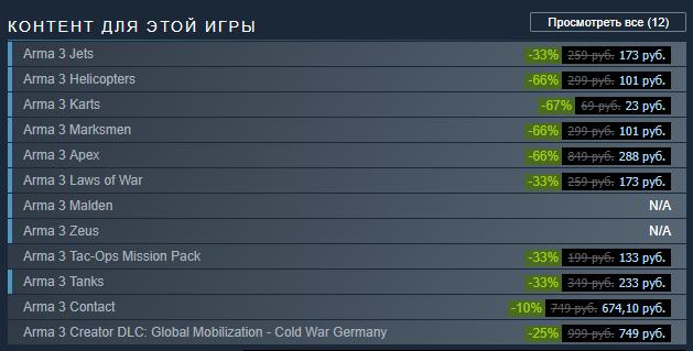 Скидки в Steam на ArmA III.